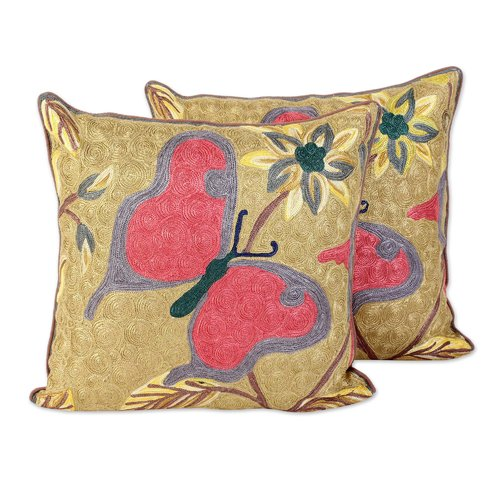 Bloomsbury Market Bourassa Joyful Butterfly 100pct Cotton Pillow Cover (Set of 2)