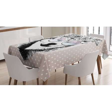Alaskan Malamute Tablecloth, Vintage Polka Dots and Dog Wearing Floral Wreath and Sunglasses, Rectangular Table Cover for Dining Room Kitchen, 60 X 84 Inches, Rose Gold Black White, by - Black And White Polka Dot Table Cloth