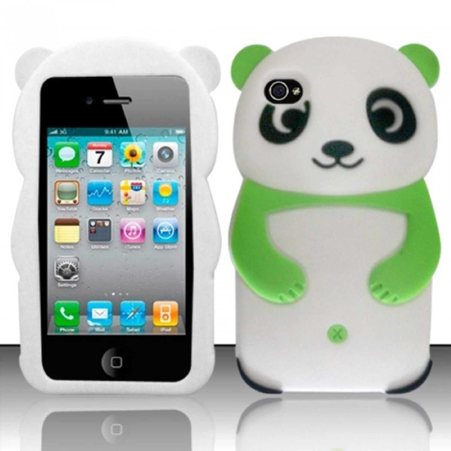 Insten Neon Green 3D Panda Bear Design Silicone Soft Skin Case Cover For Apple iPhone 4/4S