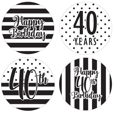 Black And White Striped Party Supplies (40th Birthday Party Favor Labels, 60ct - Black and White Stripe and Polka Dot Birthday Party Supplies - 60 Count Happy Birthday Stickers (1 3/4)