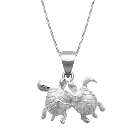 Sterling Silver Turtle Couple Necklace Pendant with 18