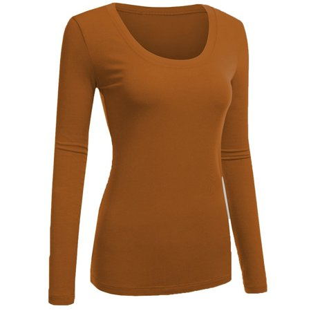 Cotton Spandex Skirt (Emmalise Women's Plain Basic Cotton Spandex Scoop Neck Long Sleeve T)