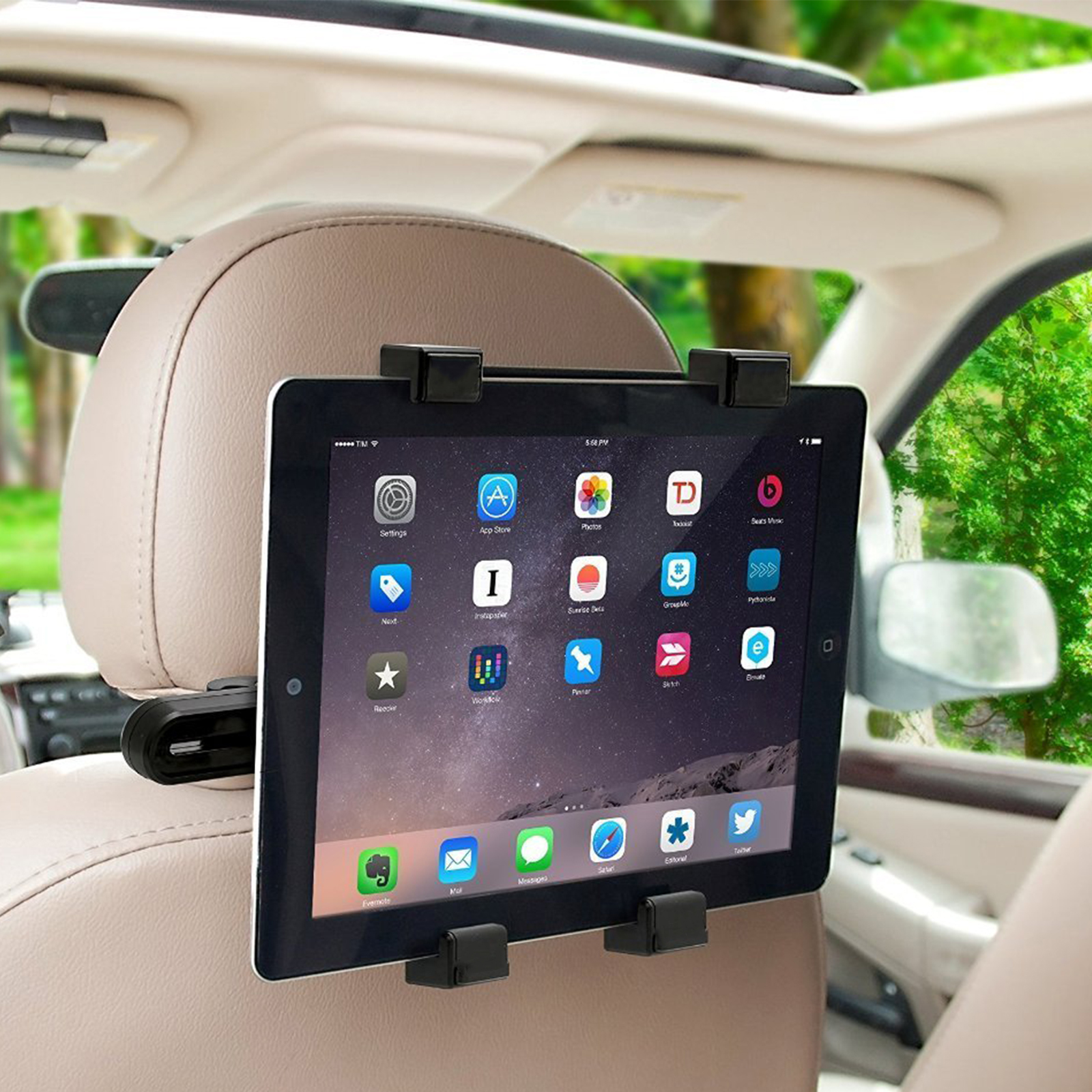 TSV Tablet Car Seat Headrest Mount, Car iPad Tablet Holder Universal Mount Holder for iPad, iPad Pro Mini, Samsung Galaxy, Fits all 7 to 11 inch Smartphones and Tablets