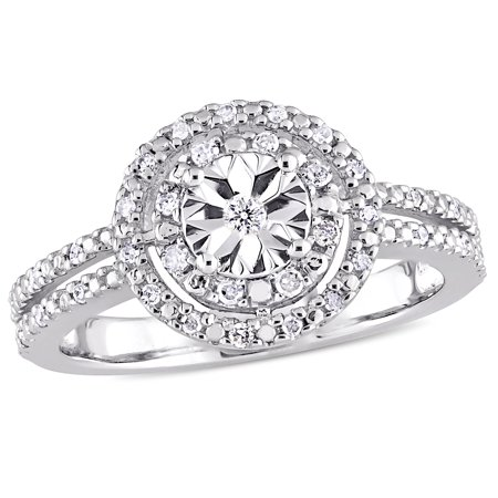 1/5 Carat T.W. Diamond Sterling Silver Double Halo Split Shank Engagement Ring (Halloween Engagement Rings)