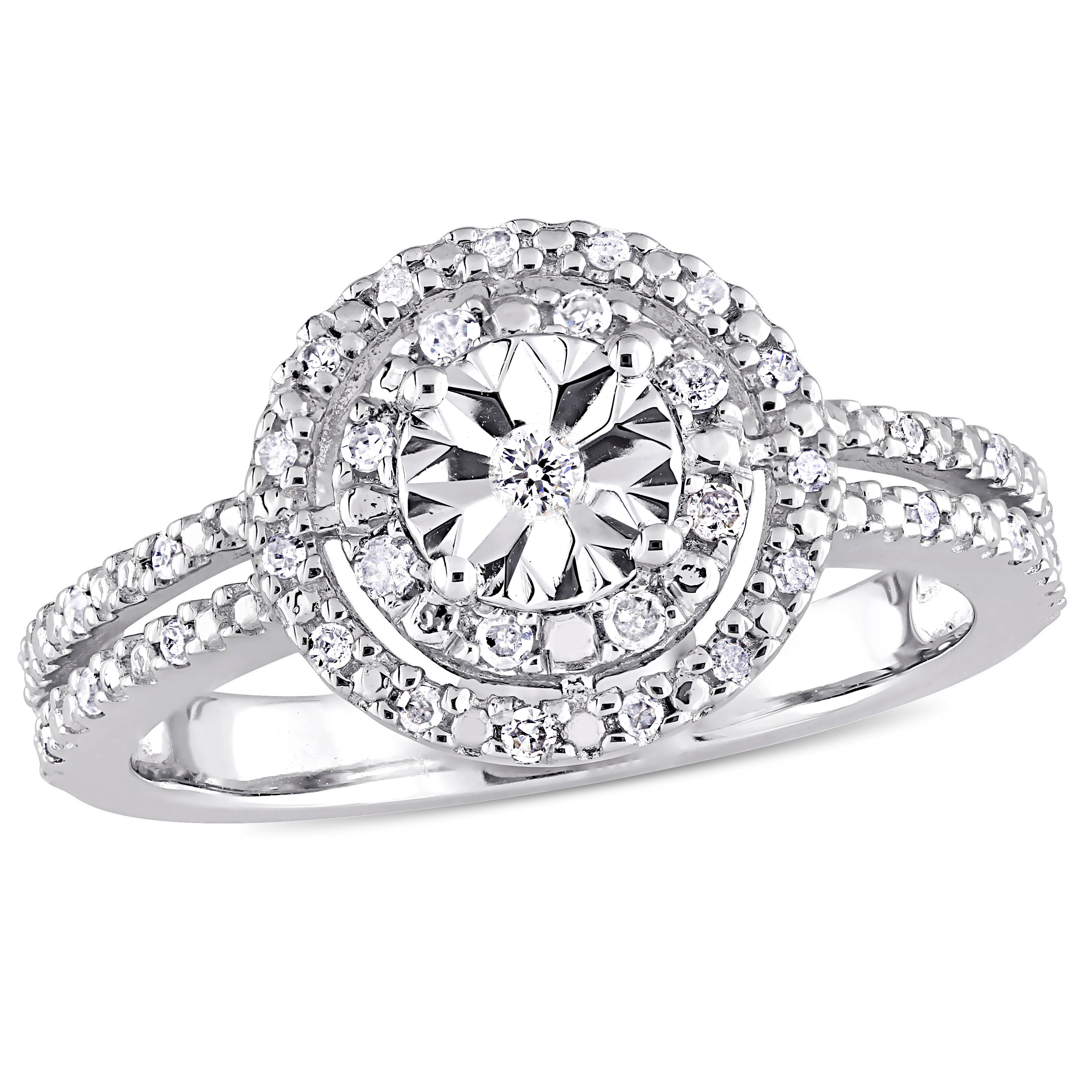 Miabella 1/5 Carat T.W. Diamond Sterling Silver Double Halo Split Shank Engagement Ring