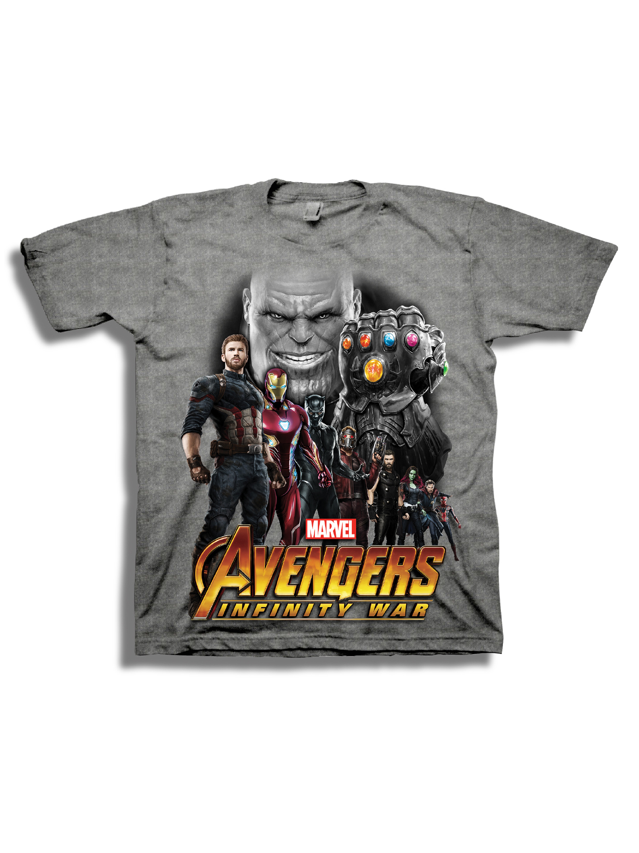 Avengers Infinity War Boys' Superhero Line-Up with Thanos Short Sleeve Graphic T-Shirt