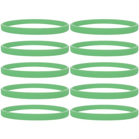 1/5 Thin Silicone Wristbands, Sports Fitness Rubber Bracelets, 100 Pcs/ Pack - Bulk - Neon Yellow Wristbands