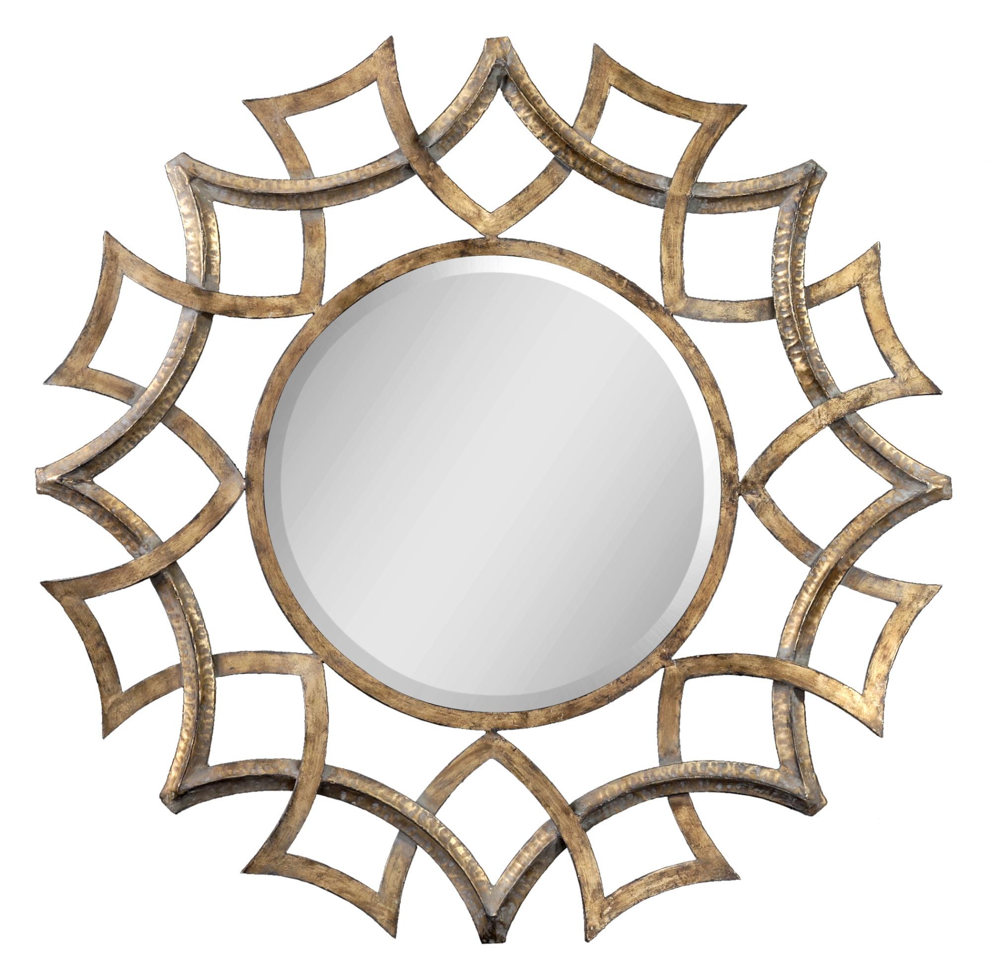 Uttermost 12730 B Demarco Sunburst Inspired Ornate Round Large Wall Mirror Walmart Com Walmart Com