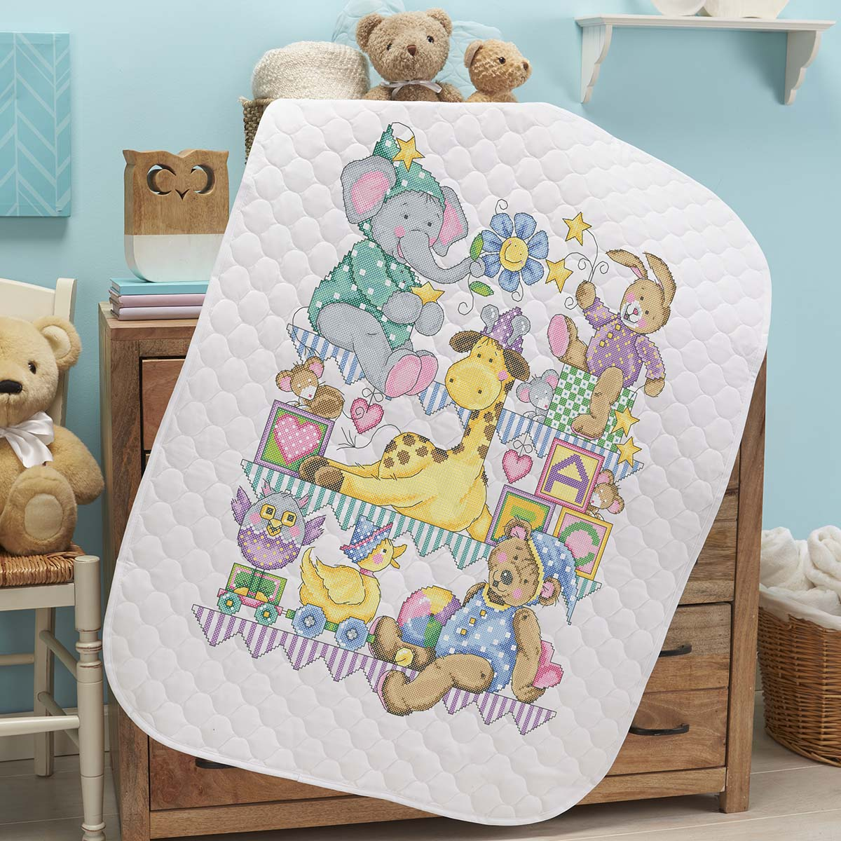 Herrschners® Pre-Quilted Playland Baby Quilt Kit Stamped Cross-Stitch