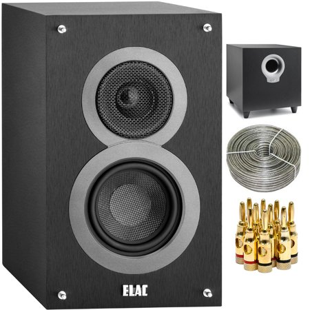 Elac Debut B4 4 Bookshelf Speaker Pair Black DB41 BK With Series S10 200W