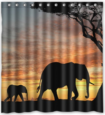 Hellodecor Walking Elephant Mom And Son Shower Curtain Polyester Fabric Bathroom Decorative Curtain Size 66x72 Inches
