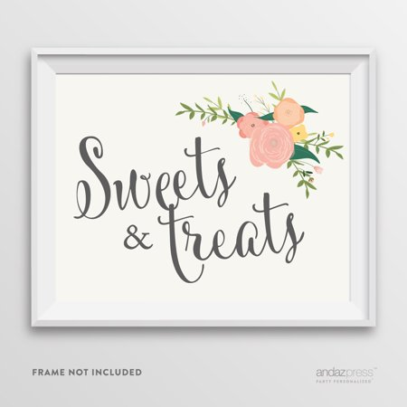 Sweets & Treats Floral Roses Wedding Party Signs - Small Pink Sweets