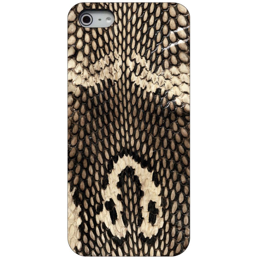 CUSTOM Black Hard Plastic Snap-On Case for Apple iPhone 5 / 5S / SE - Brown Tan Snake Skin Texture