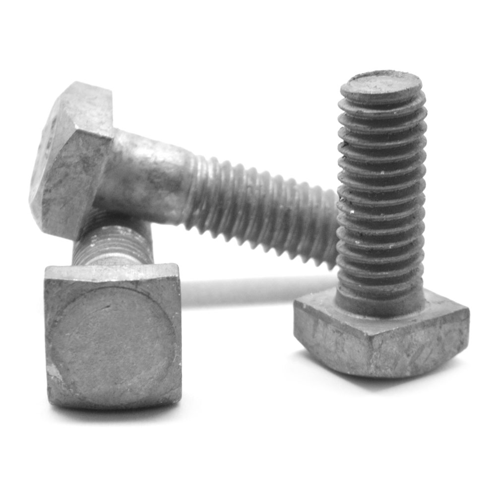 "1/4""-20 x 3 1/2"" A307 Grade A Square Head Machine Bolt Low Carbon Steel Hot Dip Galvanized Pk 375"