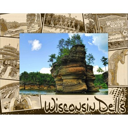 Halloween Photo Montages (Wisconsin Dells Montage Laser Engraved Wood Picture Frame (5 x)
