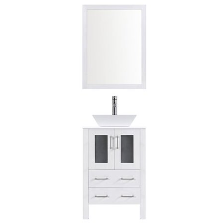 LessCare Modern 24'' Single Bathroom Vanity Set with Mirror - Modern Single Bathroom Vanity