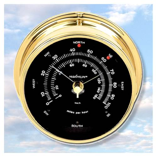 Brass Case Maestro Anemometer w Black Dial by Anemometers