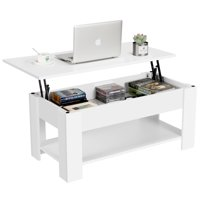Lift up Top Coffee Table with Under Storage Shelf Modern Living Room Furniture (White)