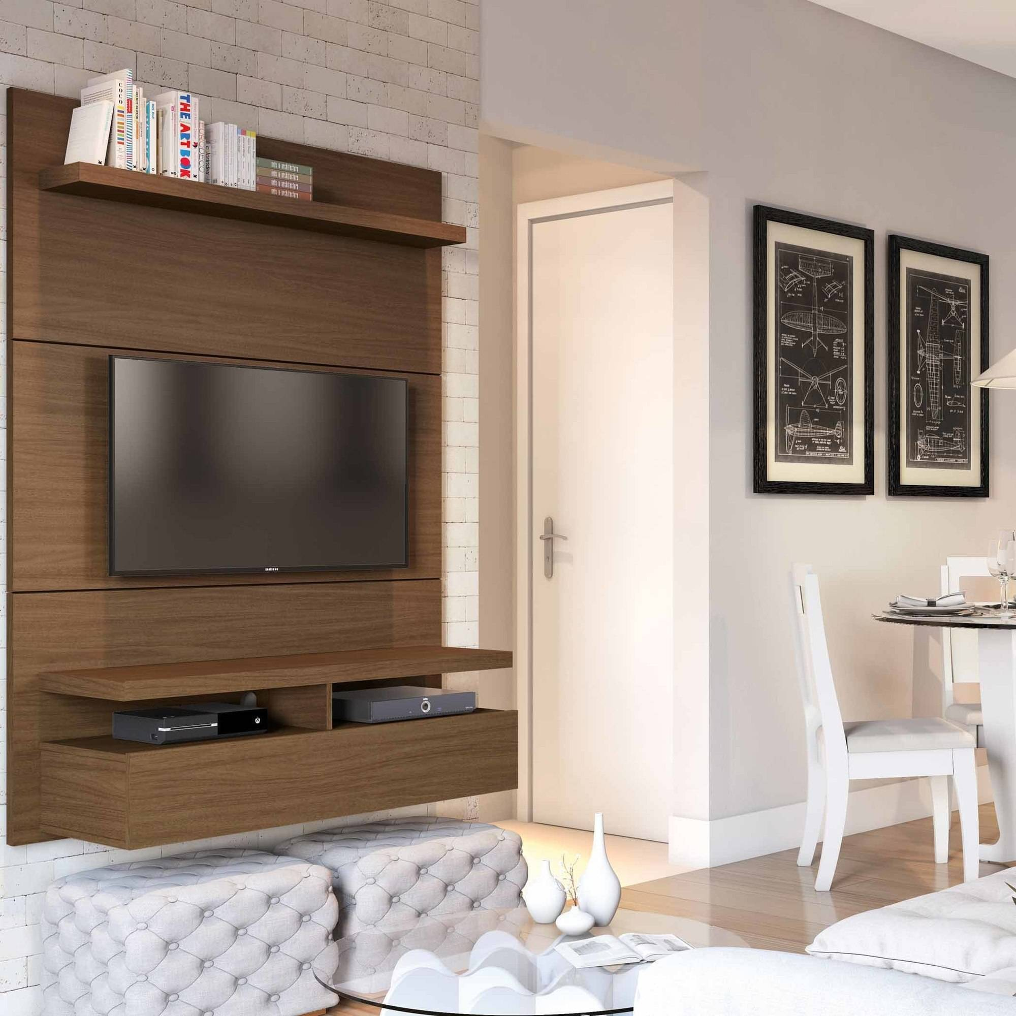"Manhattan Comfort City 1.2 Floating Wall Theater Entertainment Center for TVs up to 60"", Multiple Colors"