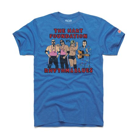 Official WWE Authentic Hart Foundation v. Rhythm & Blues WM5 Homage T-Shirt Red