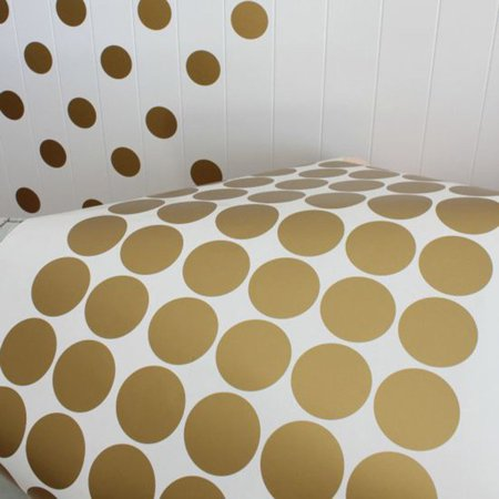 Home Living Room Bedroom Wall Sticker Gold Plated Round Dot Pattern Sticker - image 7 of 11