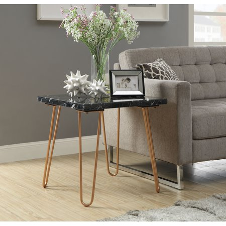 ACME Telestis Square Marble Top End Table in Marble and Gold - Black And Gold Table