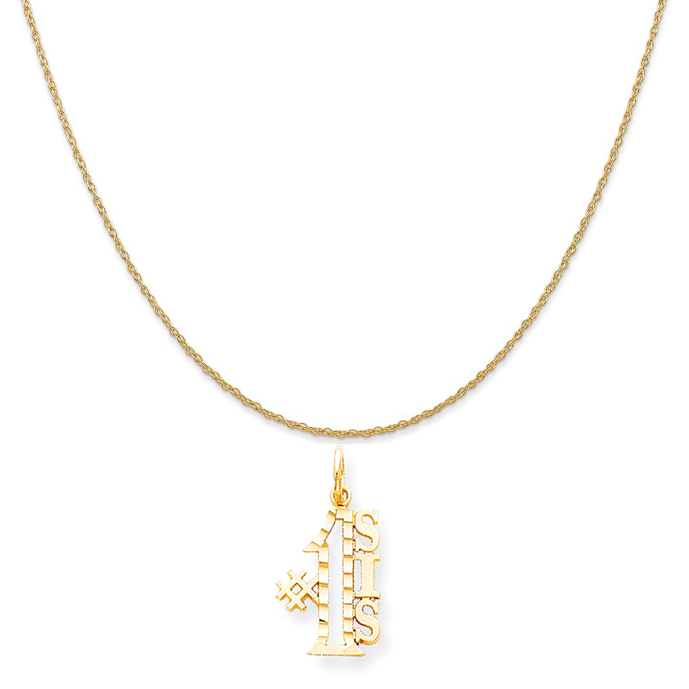 10k Yellow Gold #1 Sis Charm on a 14K Yellow Gold Rope Chain Necklace, 20""