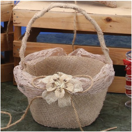 Flower Girl Basket Burlap Bowknot Rustic Wedding Bridal Ceremony Canasta de Boda Recuerdos](Wedding Baskets)