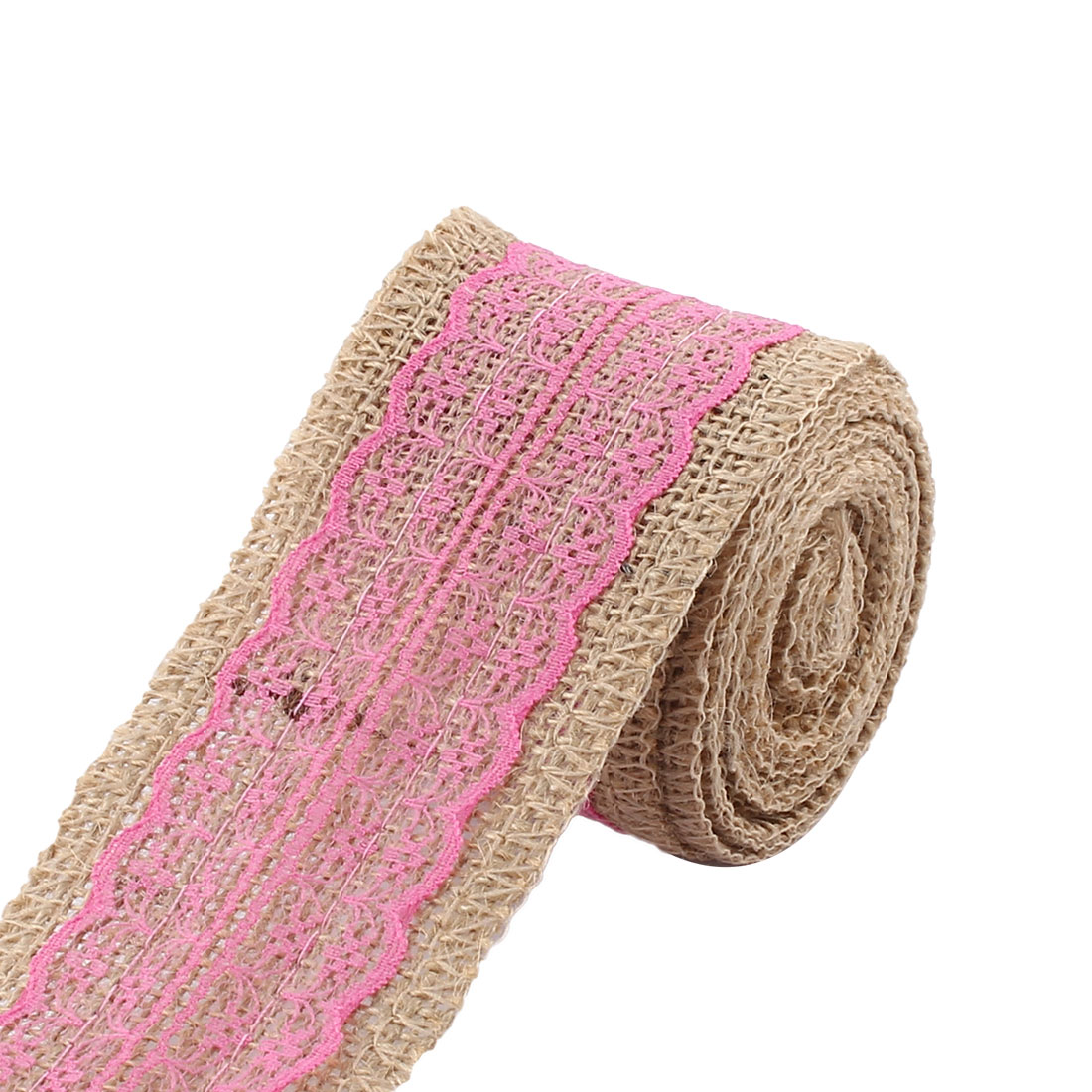 Room Decor Burlap DIY Gift Wrapping Packing Craft Ribbon Roll Fuchsia 3.3 Yards - image 4 of 4