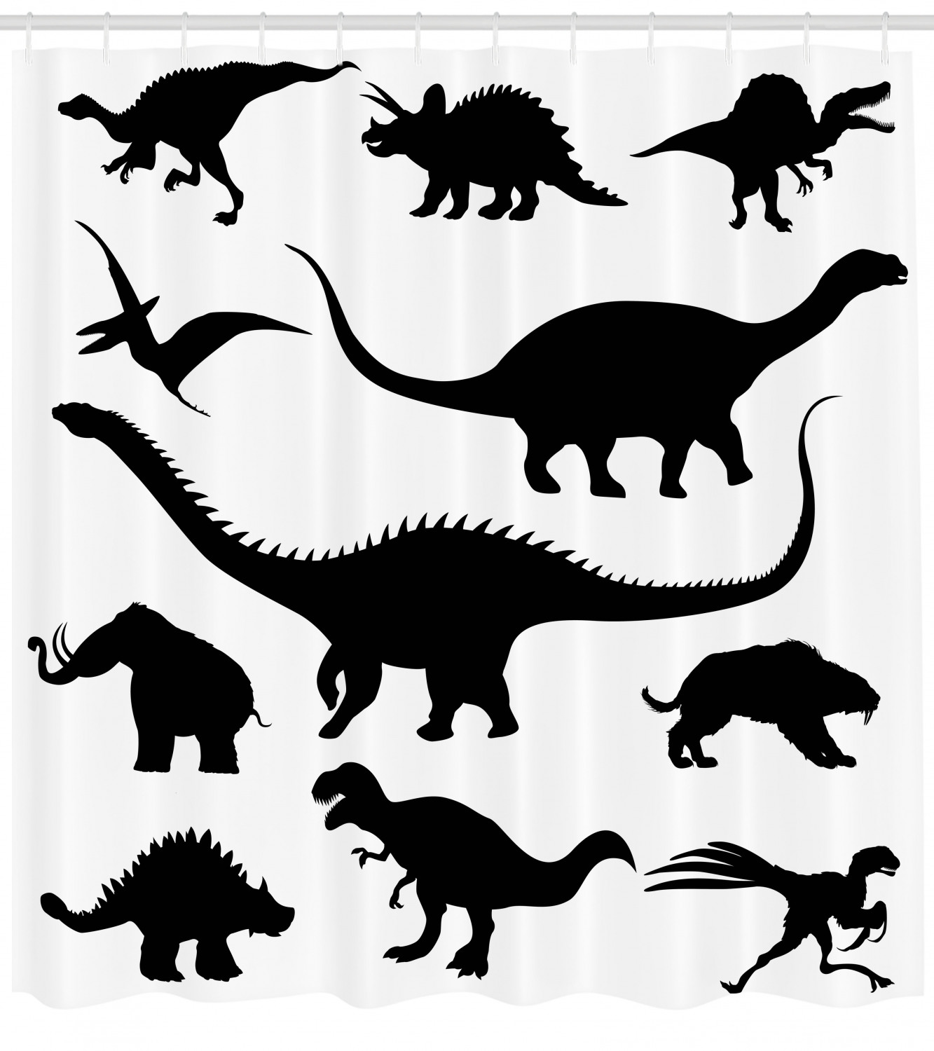 Dinosaur Shower Curtain Various Black Dino Silhouettes Jurassic Evolution Extinction Predator Animals Fabric Bathroom Set With Hooks Black White