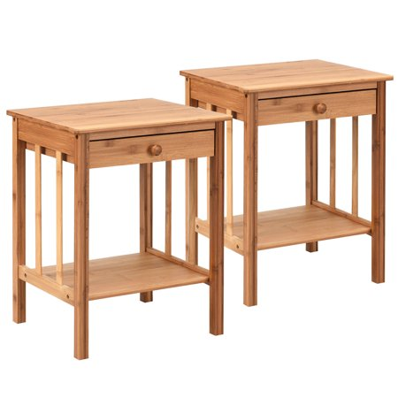 """Globe House Products GHP 2-Pcs 16""""x14""""x20"""" Bamboo Plywood Drawer Ample Storage Open ShelVes Nightstand"""