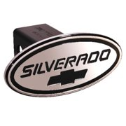 DefenderWorx 37005 Chevy - Silverado - Black w - Black Bowtie - Oval - 2 Inch Billet Hitch Cover