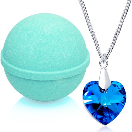 Tranquil Serenity Bath Bomb with Necklace Created with Swarovski Crystal Extra Large 10 oz. Made in USA Gardenia Bath Crystals