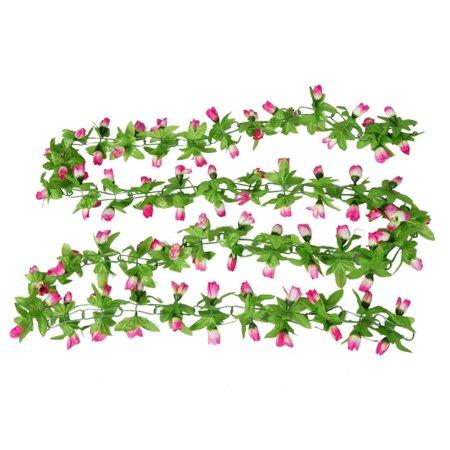 Dark Pine Green (Unique Bargains Home Wall Ornament Pink White Magnolia Decor Green Leaf Hanging Vine x 2)