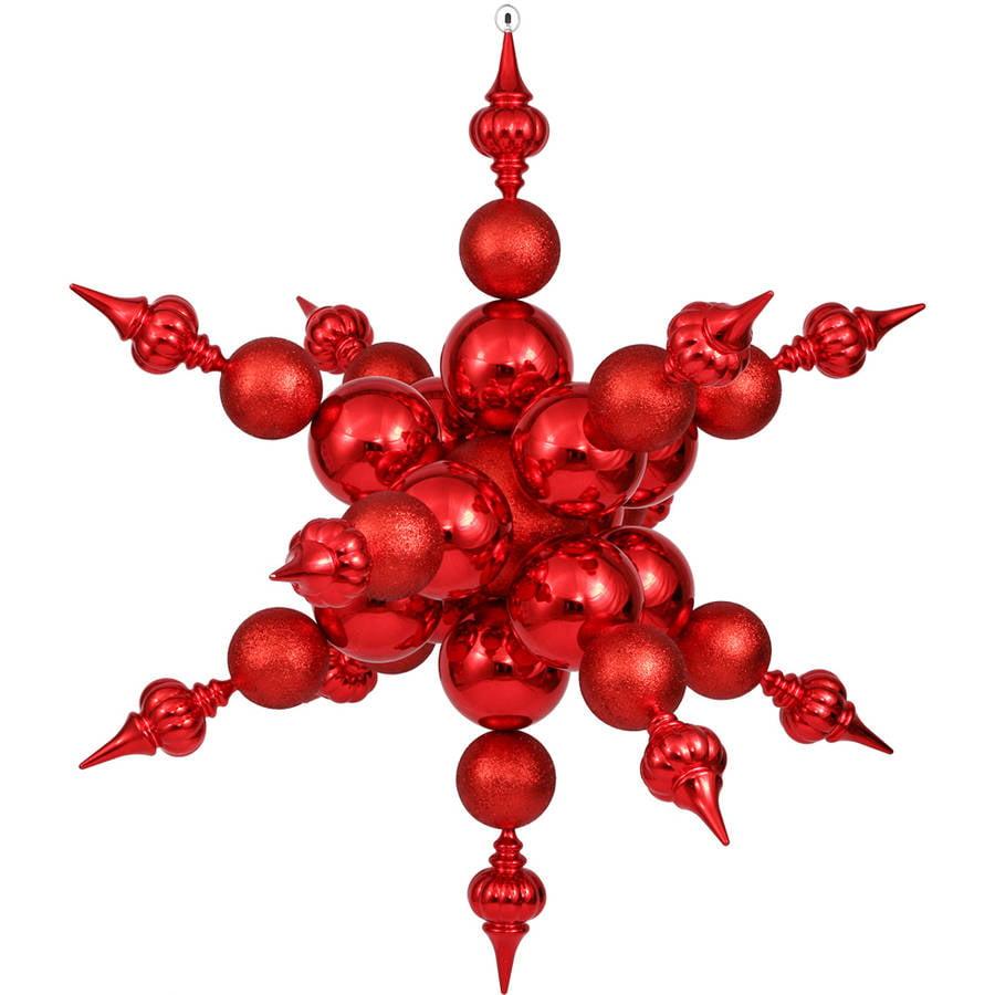 "Vickerman 39"" Red Radical Shiny/Glitter Snowflake"