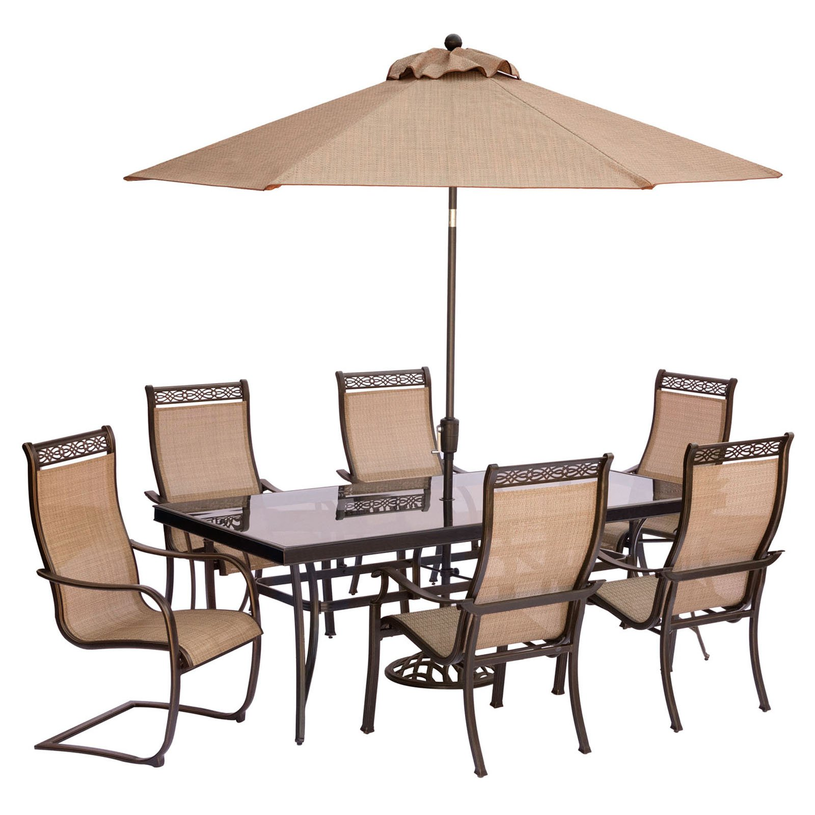 "Hanover Outdoor Monaco 7-Piece Sling Dining Set with 42"" x 84"" Glass-Top Table, 4 Stationary Chairs and 2 C-Spring Chairs plus Umbrella with Stand, Cedar"