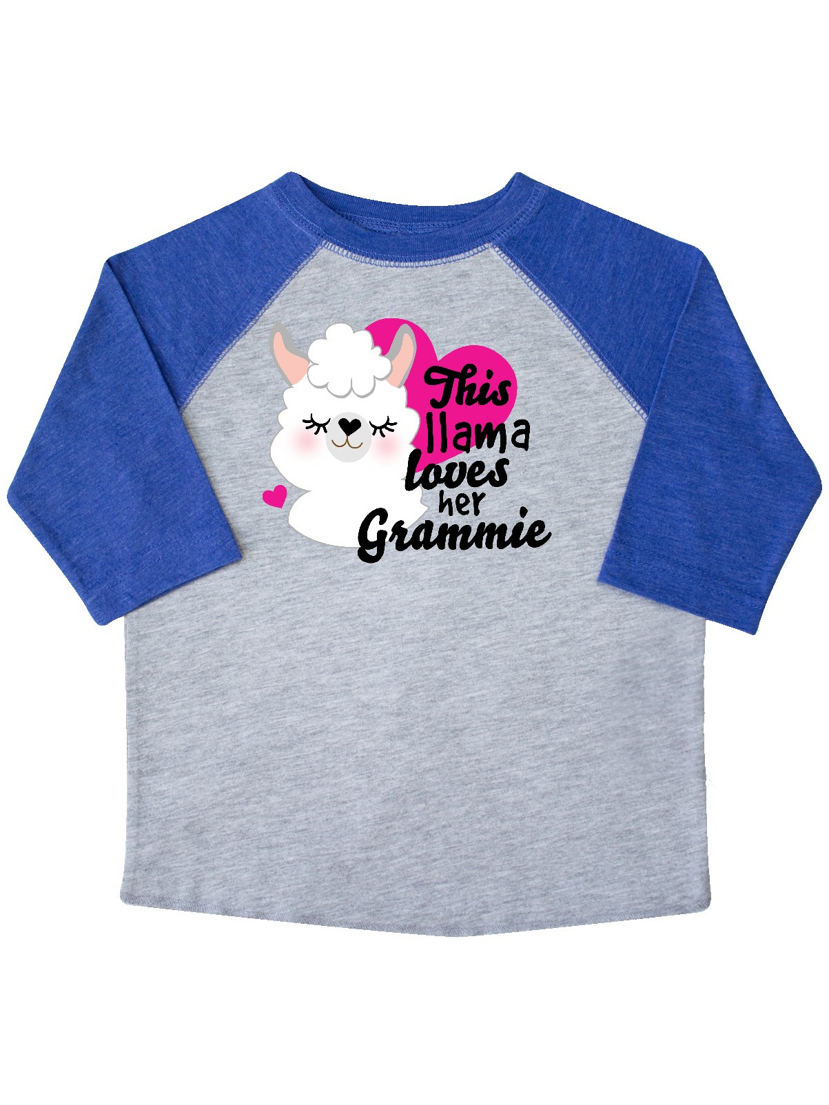 inktastic Valentines Day This Llama Loves Her Grammie Toddler T-Shirt