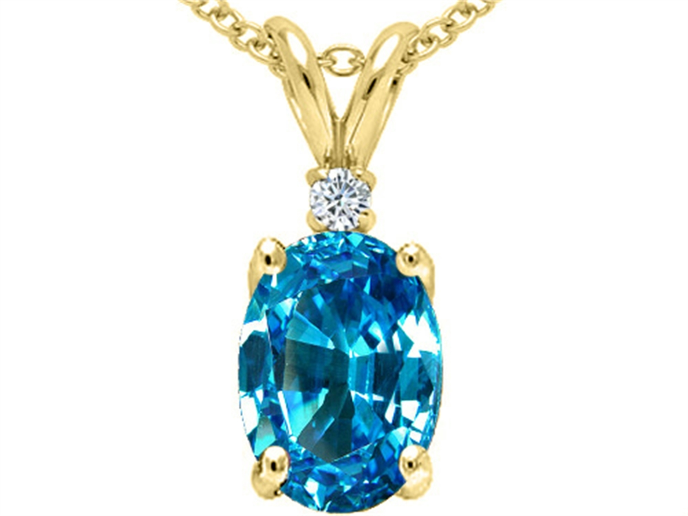 Tommaso Design Oval 8x6 mm Genuine Blue Topaz Pendant Necklace by