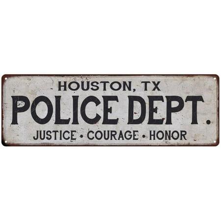 HOUSTON, TX POLICE DEPT. Home Decor Metal Sign Gift 8x24 (Cyclone Anayas Mexican Kitchen Houston Tx 77024)