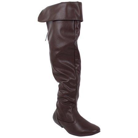 bd9f83c664d Enimay - Enimay Women's Winter Fashion Comfy Vegan Block Heel Back Lace  Thigh High Over The Knee Boots 79 Brown Size 5.5 - Walmart.com