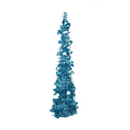 "33"" Pre-Lit Blue Pop Up Artificial Christmas Tinsel Cone ..."