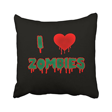 WinHome Abstract Vintage I Love zombies Halloween Abstract Drops Of Blood Pattern Polyester 18 x 18 Inch Square Throw Pillow Covers With Hidden Zipper Home Sofa Cushion Decorative Pillowcases