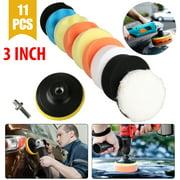 """TSV 3"""" Drill Buffing Sponge Pads Car Foam Woolen Polishing Pads Replacement Kit for Car Buffer Polisher Waxing Sealing Glaze - 11Pcs"""