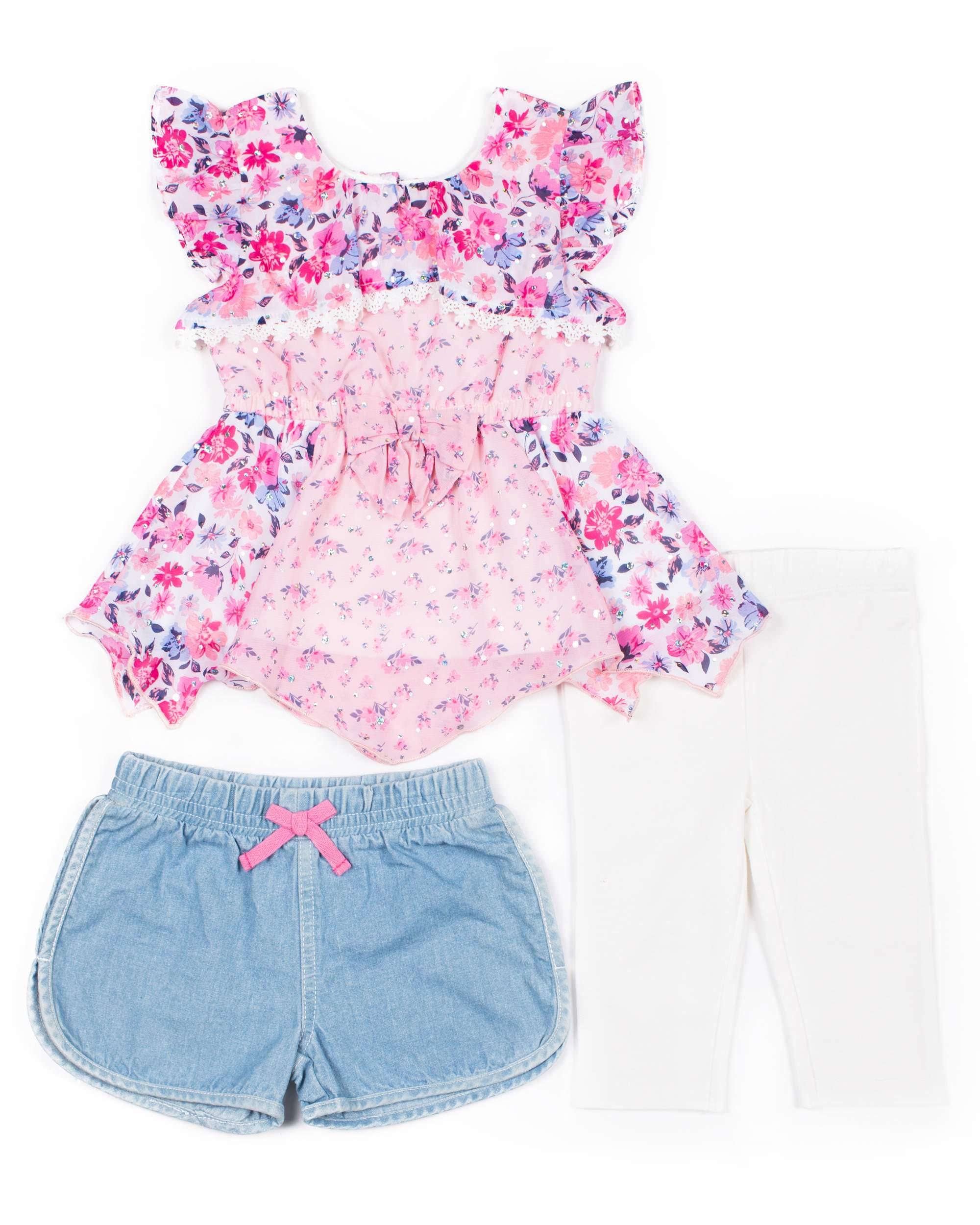 Sleveless Printed lace Chiffon, Denim Short & Capri, 3pc Outfit Set (Baby Girls & Toddler Girls)