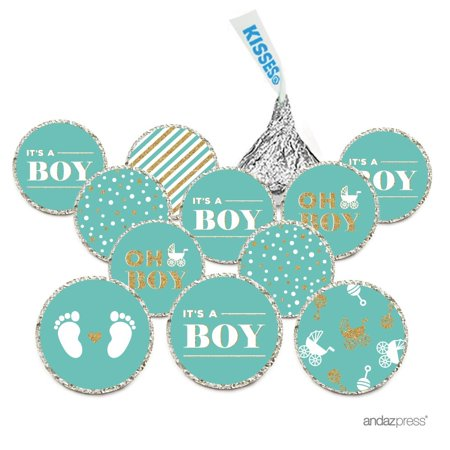 Chocolate Drop Labels, Fits Hershey's Kisses, Ultimate Boy Baby Shower Collection, Diamond Blue, 216-Pack Good Boy Chocolate Drops