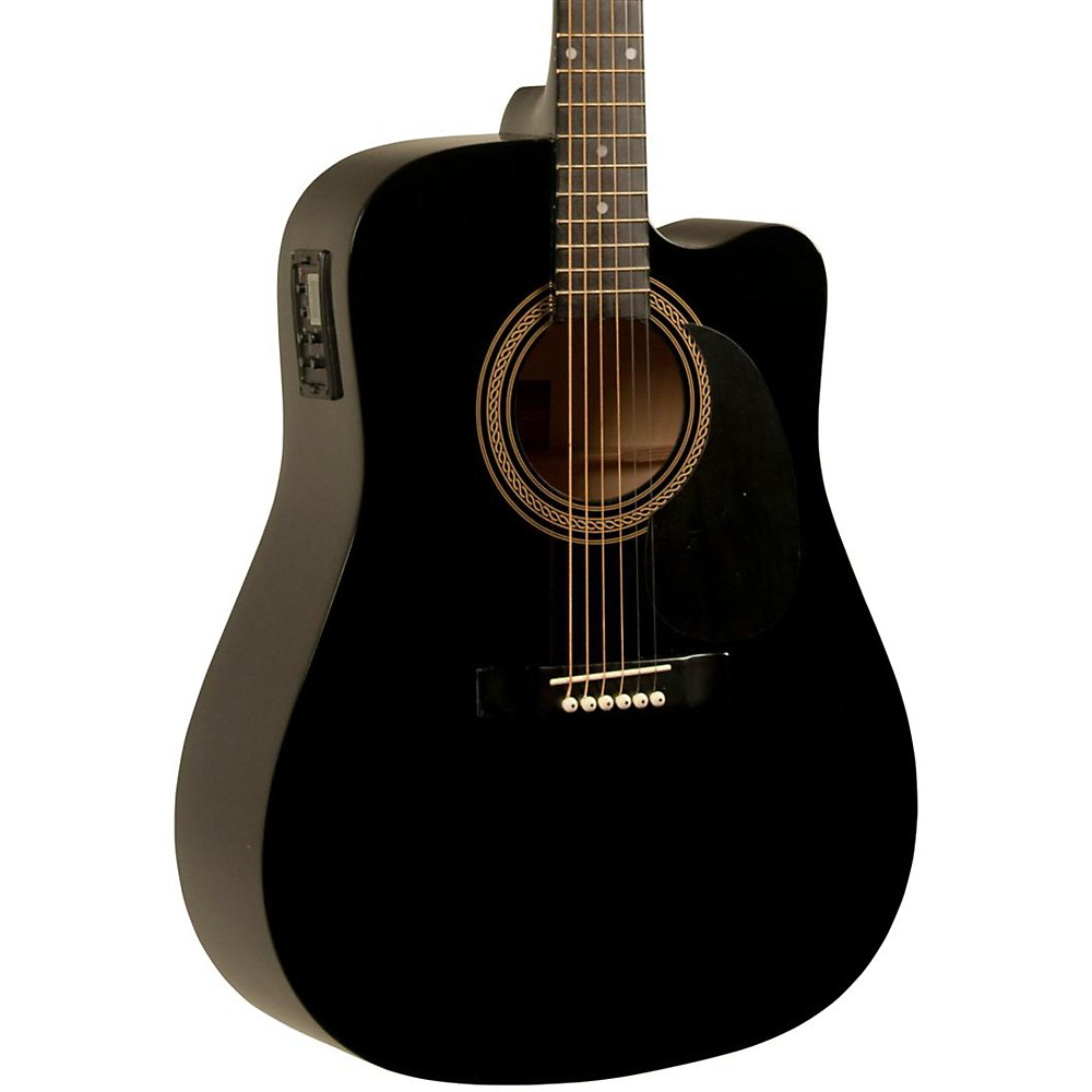 Rogue RA-090 Dreadnought Cutaway Acoustic-Electric Guitar Black by Rogue