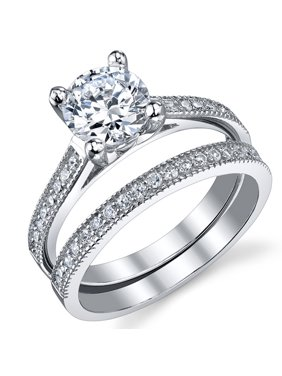 1 25 Carat Round Brilliant Cubic Zirconia Sterling Silver 925 Wedding Engagement Ring Band Set Sizes 4