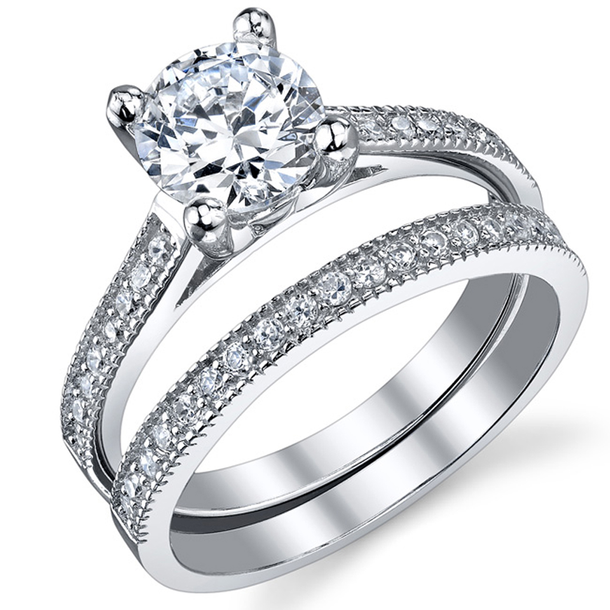 1.25 Carat Round Brilliant Cubic Zirconia Sterling Silver 925 Wedding Engagement Ring Band Set