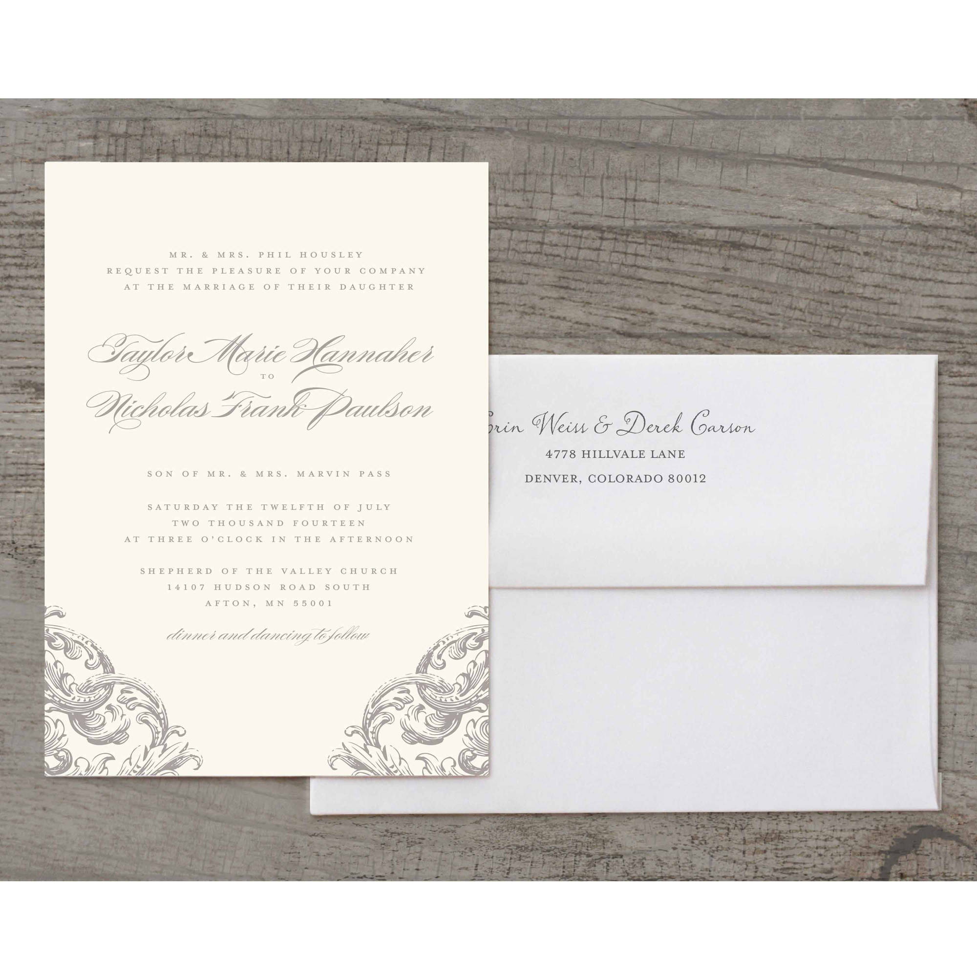 Romantic Scroll Deluxe Wedding Invitation