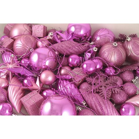 125-Piece Club Pack of Shatterproof Bubblegum Pink Christmas Ornaments - Shatterproof Ornaments Bulk